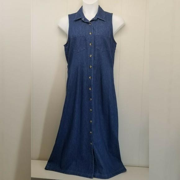 Lands' End Dresses & Skirts - Lands End 12R Blue Jean Dress Jumper Sleeveless